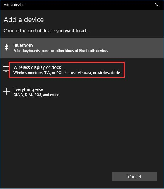 add wireless display or dock