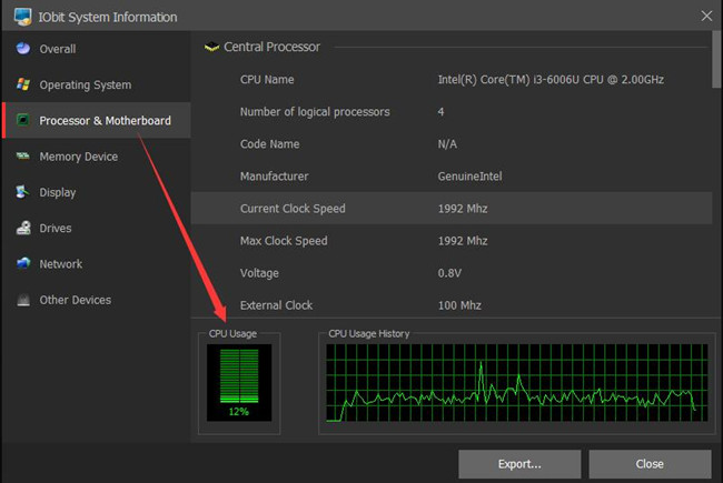 cpu usage in iobit system information