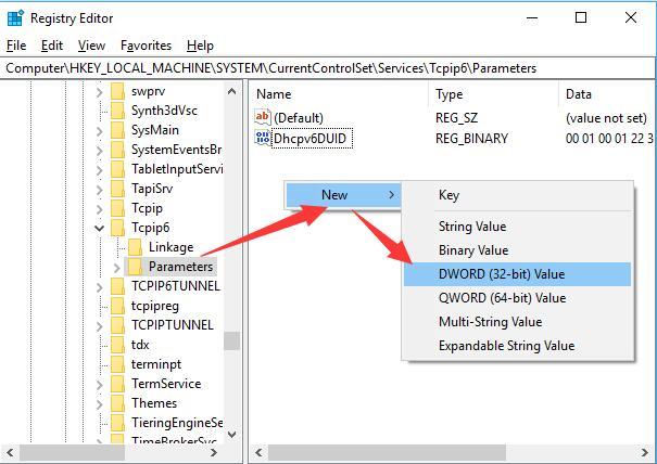 tcpip6 create a new dword
