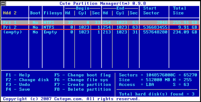 created new partition